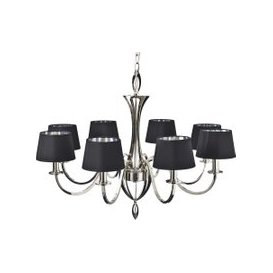 image-Calisto Silver Chandelier with Black Shades