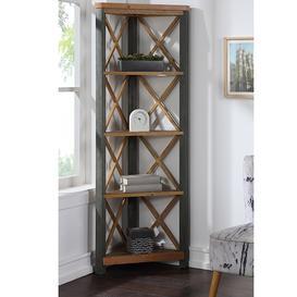image-Urban Elegance Reclaimed Wood Furniture Large Corner Bookcase