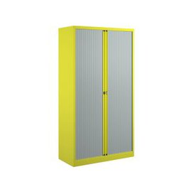 image-Bisley Economy Tambour Cupboard, 100wx47dx199h (cm), Yellow, Free Standard Delivery