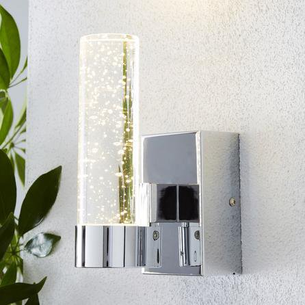 image-Bubble Glass Chrome Outdoor Wall Light Chrome, Clear