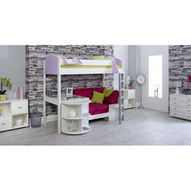 image-Trevino High Sleeper Loft Bed with Shelf and Desk Isabelle & Max Colour (Bed Frame): White/Lilac, Colour (Fabric/Accessory): Pink