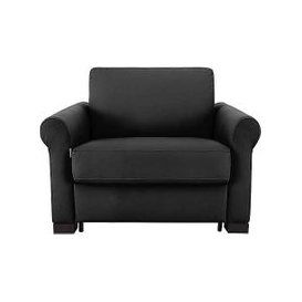 image-Nicoletti - Alcova Leather Sofa Bed Chair with Scroll Arms - Black
