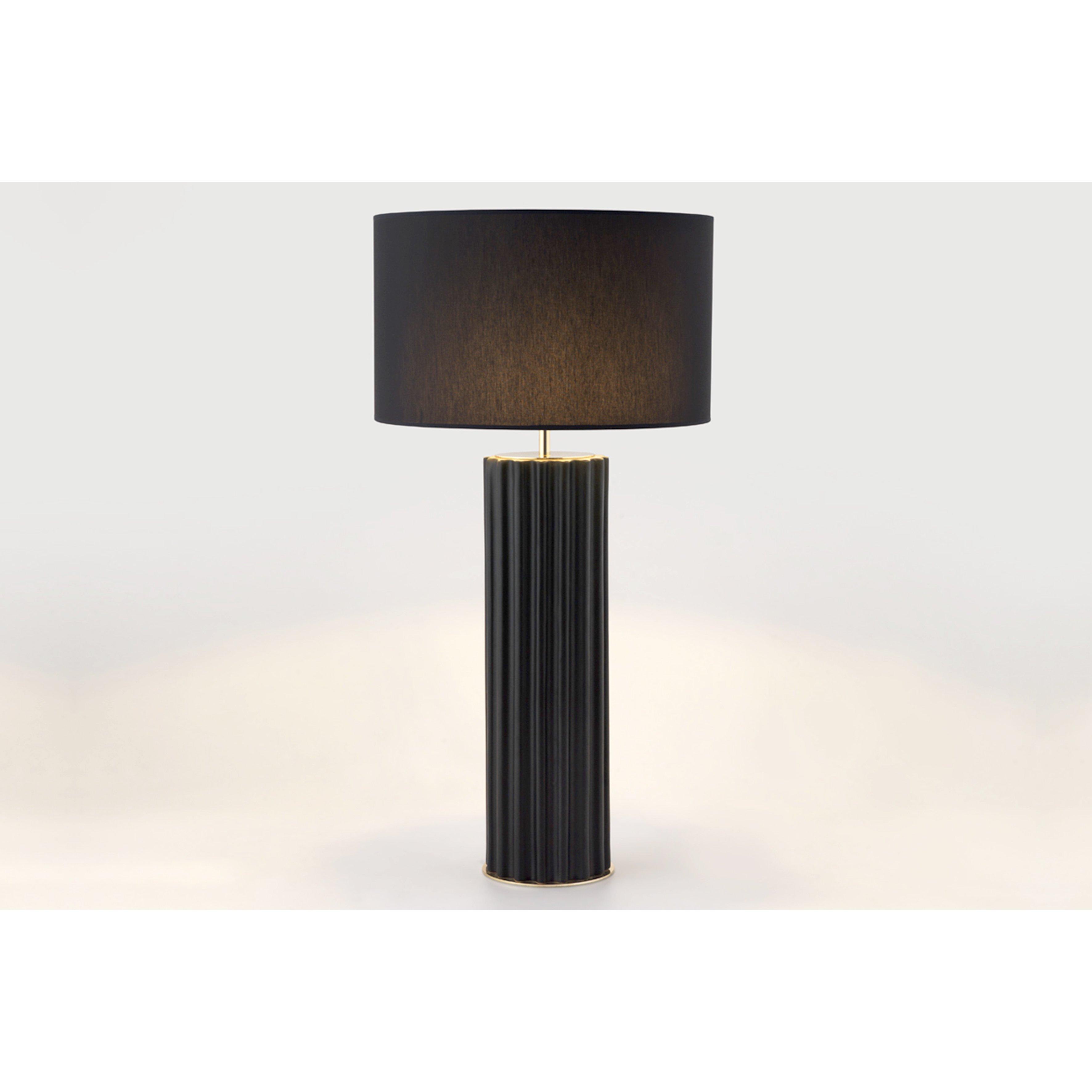image-Temple Ceramic Table Lamp, Shiny gold chrome / Matt black
