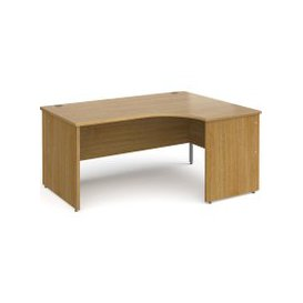 image-Tully Panel End Right Hand Ergonomic Desk, 160wx120/80dx73h (cm), Oak, Free Next Day Delivery
