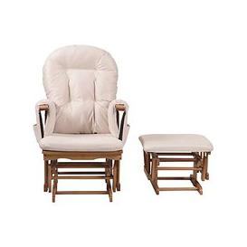 image-Kub Haywood Reclining Glider Nursing Chair and Footstool, Beige