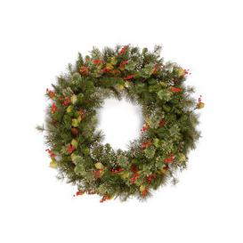"""image-Woodbury Pine Christmas Wreath with Cones,Red Berries & Snowflakes - 24"""""""