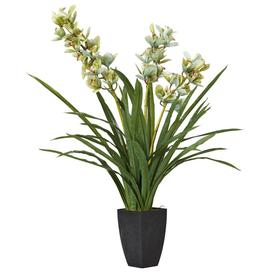 image-Faux Cymbidium Orchid With Narrow Vase - Green