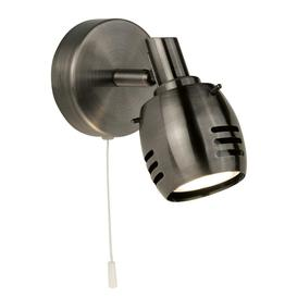 image-Searchlight 2721AS Trojan One Light Wall Spotlight In Antique Silver