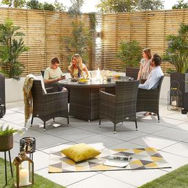 image-Nova Garden Furniture Amelia Brown Rattan 6 Seat Oval Dining Set with Fire Pit