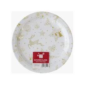 image-Large Christmas Paper Plates 10 Pack - Reindeer Design