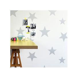 image-Kids Star Design Wallpaper in Silver & White