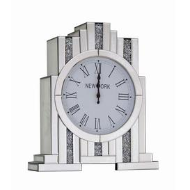 image-Diamante Crystal Mirror Mantle Clock Mercer41