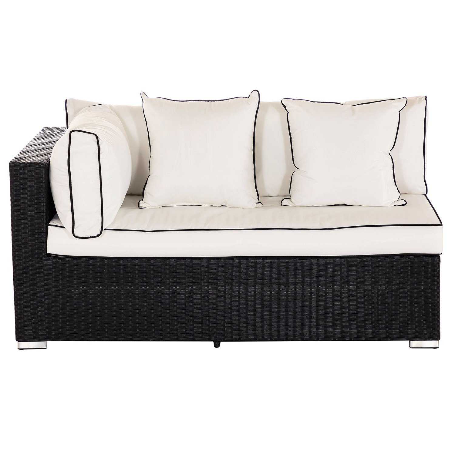 image-Monaco Rectangular Right As You Sit Rattan Garden Sofa in Black & Vanilla