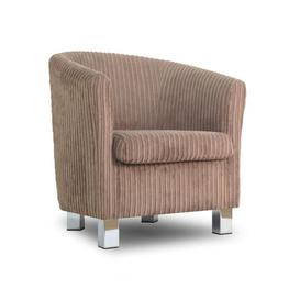image-Small Fabric Sofa Tub Chair Jumbo Cord Sable Chrome Legs