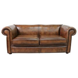 image-Chesterfield 1930's 3 Seater Settee Antique Tan Leather Sofa