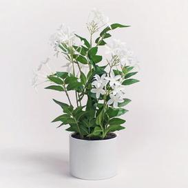image-Artificial Jasmine Plant in White Pot 40cm White
