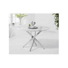 image-Casie 120cm Round White Marble Dining Table