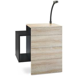 image-Queens 2 Drawer Bedside Table Vladon Colour (Frame / Table Top): Oak Sawed, Features: With LED spotlight