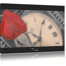 image-Rose on a Clock Art Print on Canvas East Urban Home