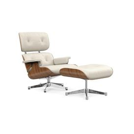 image-Vitra Eames Lounge Chair & Ottoman Classic Dims Black Pig. Walnut Chromed