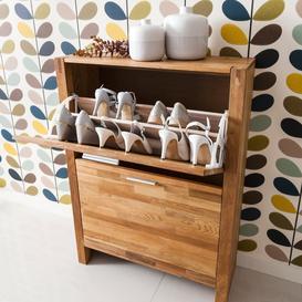 image-Vermont Solid Oak Shoe Storage Cabinet 2 Drawer