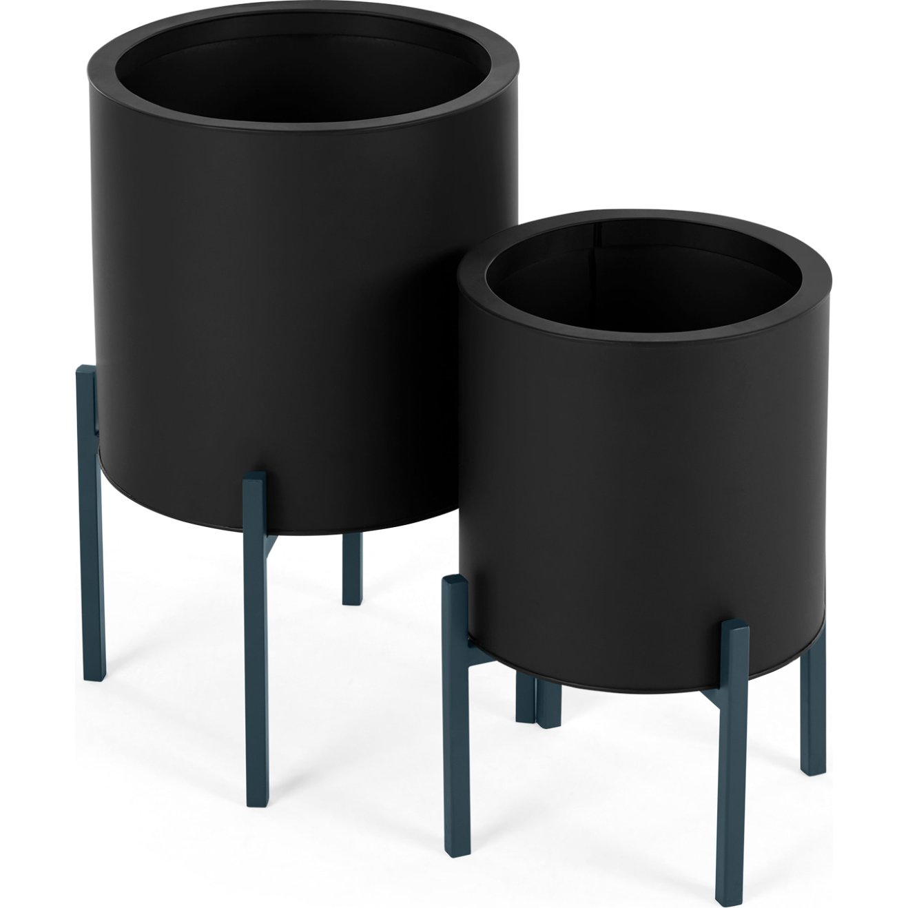 image-Noor Set Of Two Galvanized Iron Round Plant Stands, Black & Teal