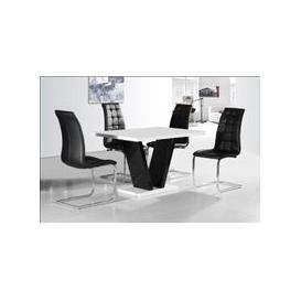image-Clara Dining Table In White Gloss With 4 Black Dining Chairs