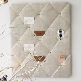 image-Linen Memo Board Fairmont Park Finish: Ivory/Gold, Size: 48cm H x 28cm W