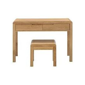 image-Julian Bowen Newman Curve 2 Drawer Solid Oak/Oak Veneer Dressing Table And Stool Set