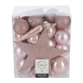 image-A by AMARA Christmas - Set of 33 Assorted Baubles and Tree Topper - Blush Pink