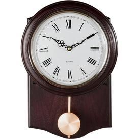 image-Argos Home Pendulum Wall Clock - Dark Oak Effect