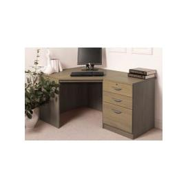 image-Small Office Corner Desk Set With 3 Drawers (English Oak)