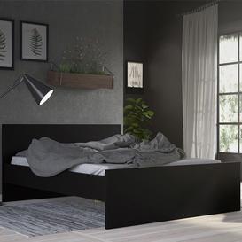 image-Nakou Wooden King Size Bed In Matt Black