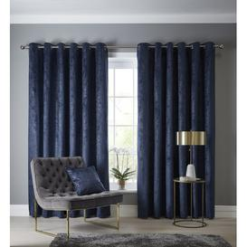 image-Kristian Eyelet Room Darkening Curtains Willa Arlo Interiors Size per Panel: 117 W x 137 D cm, Colour: Indigo