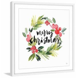 """image-\""""Wreath of Christmas\"""" Framed Watercolour Painting Print East Urban Home"""
