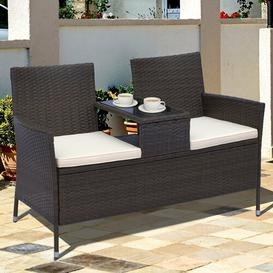 image-Yatendra Rattan Love Seat Sol 72 Outdoor Colour: Brown