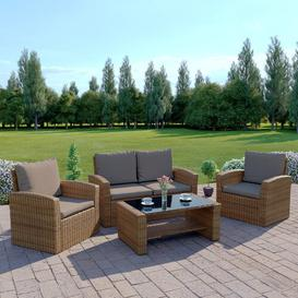 image-Sophie 4 Seater Rattan Sofa Set Zipcode Design Colour: Mixed Light Brown/Brown