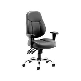 image-Sharp Leather Faced Operator Chair, Black