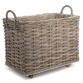 image-Rattan Hessian Lined Log basket