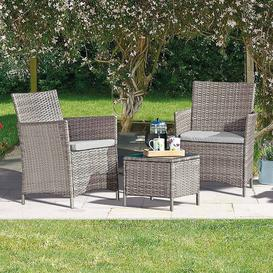 image-Ayios 2 Seater Rattan Effect Conversation Set Sol 72 Outdoor Colour (Frame): Snow Grey, Colour (Cushion): Grey