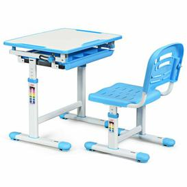 image-Gilliam Children's 2 Piece Activity Table and Chair Set Isabelle & Max Colour: White/Blue