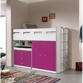 image-Briggs High Sleeper Bed with Drawers and Desk Isabelle & Max Colour (Bed Frame): Pink