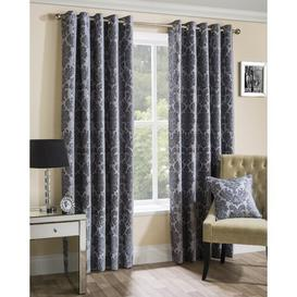 image-Stanmore Eyelet Semi Sheer Curtains Astoria Grand Size: 117 W x 183 D cm, Colour: Silver