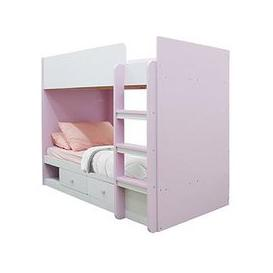 image-Peyton Storage Bunk Bed With Mattress Options (Buy And Save!) - White/Pink - Bunk Bed Only