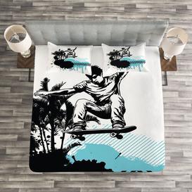 image-Follis Grunge Bedspread Set with Cushion Cover Ebern Designs Size: W220 x L220cm