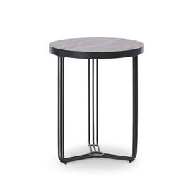 image-Gillmore Deco - Small Circular Side Table With Dark Stone Top And Black Powder Table Top Finish: Dark Stone, Frame Colour: Black Powder