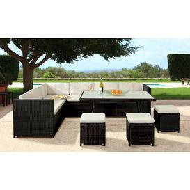 image-Kirsten 9 Seater Rattan Corner Sofa Set Zipcode Design Colour: Black/Cream