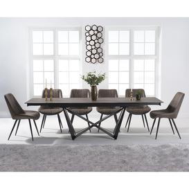 image-Blenheim 180cm Mink Ceramic Dining Table with Marcel Antique Chairs - Brown, 6 Chairs