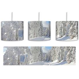 image-Winter Landscape with Trees 1 Light Drum Pendant East Urban Home Shade colour: White/Blue