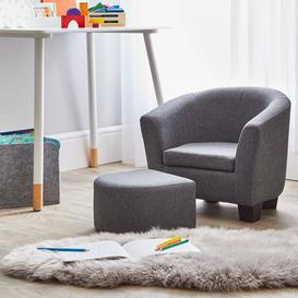 image-Kids Grey Linen Armchair and Footstool Grey